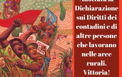 Comunicato Stampa ARI: adottata la Dichiarazione sui Diritti dei contadini e di altre persone che lavorano nellearee rurali da parte del Comitato III dell'Assemblea generale delle Nazioni Unite