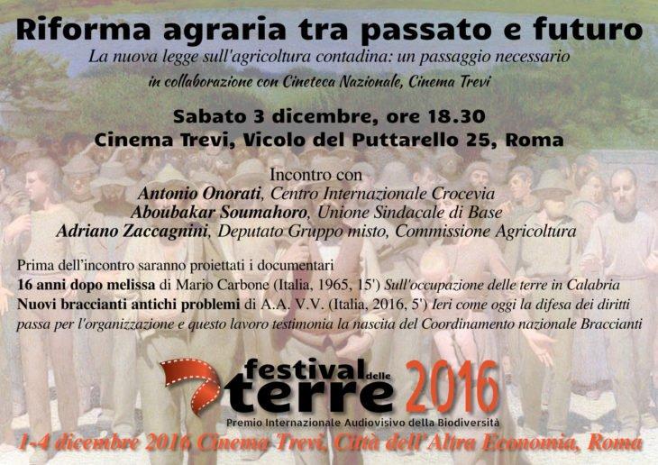 """Gli approfondimenti del Festival: """"Riforma agraria tra passato e futuro"""" - 3 dicembre, 18.30 @ Cinema Trevi"""